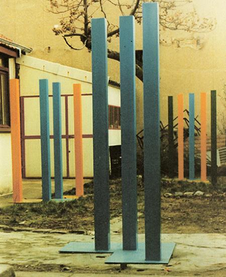 Sculpture minimaliste Un, deux, trois